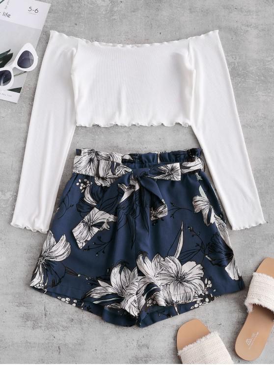 trendy ZAFUL Ribbed Floral Off Shoulder Paperbag Shorts Set - MULTI-C M