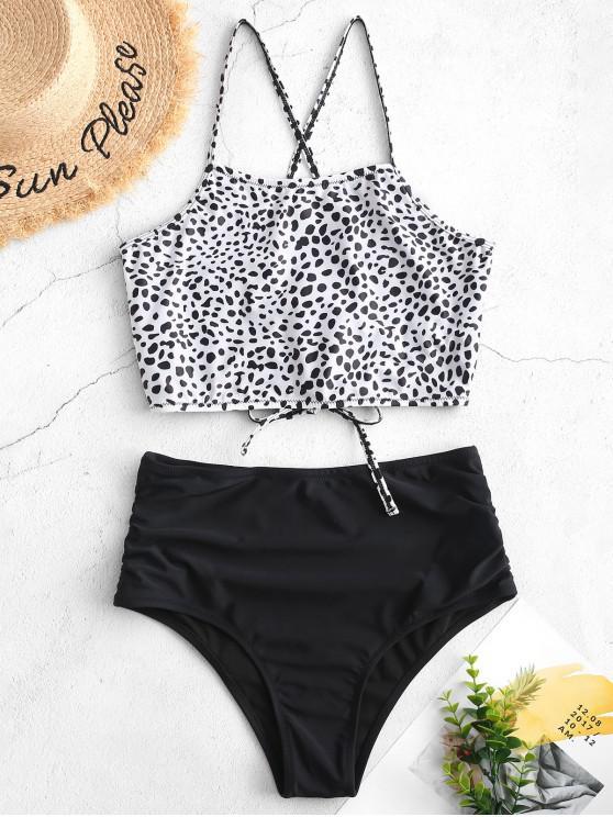 online ZAFUL Crisscross Ruched Leopard Tankini Swimsuit - WHITE L