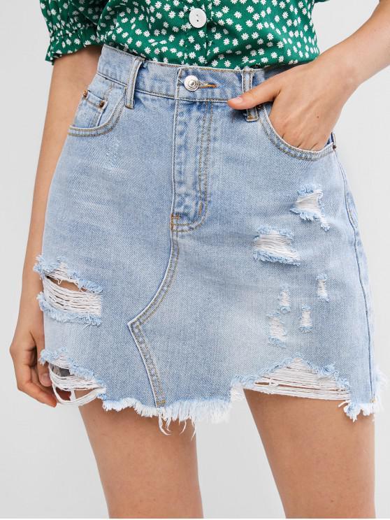 Falda de mezclilla con cremallera y bolsillo rasgado - Azul de Jeans  M