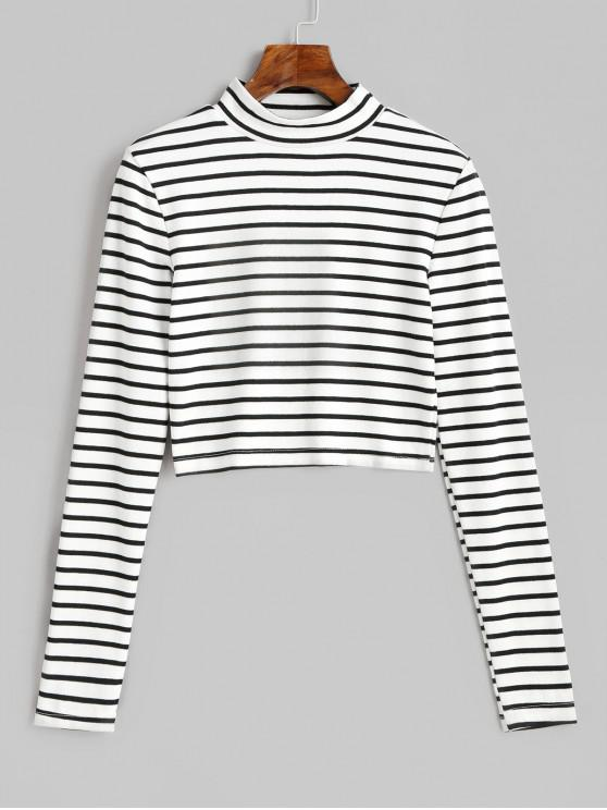 best High Neck Stripe Crop Tee - WHITE M