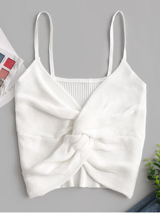 outfits Ribbed Twisted Crop Cami Top - MILK WHITE ONE SIZE