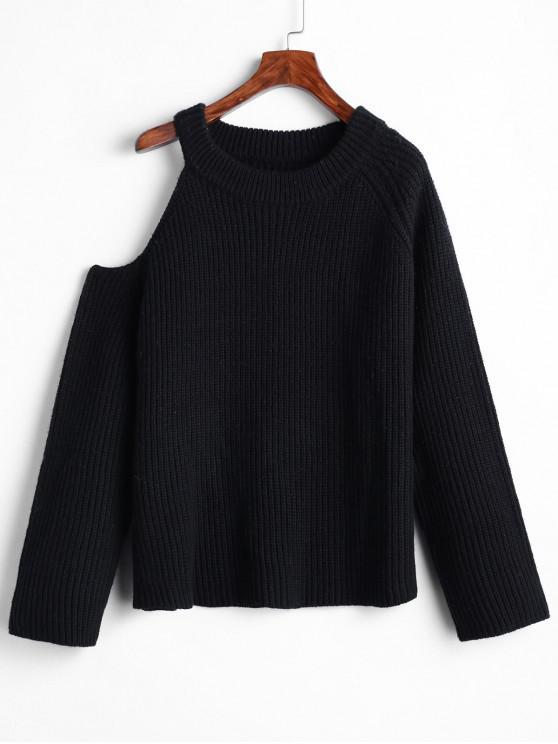 women Cold Shoulder Raglan Sleeve Pullover Sweater - BLACK M