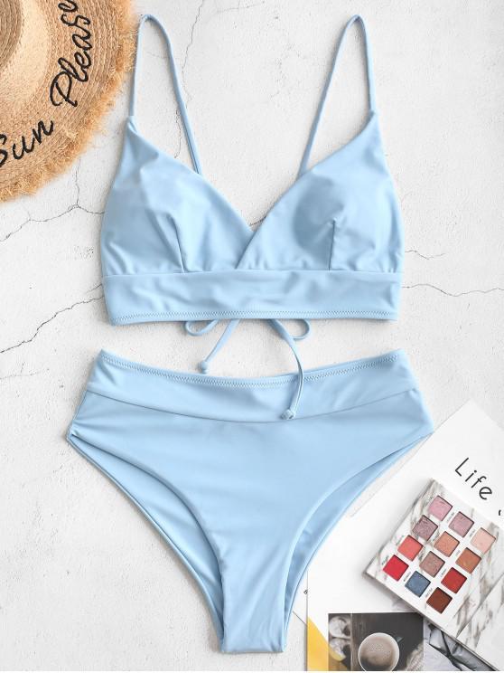 Bañador de bikini con sobrepelliz ZAFUL Tie - Azul Claro L