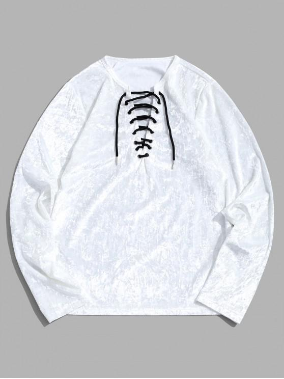 ladies Lace Up Solid Long Sleeve T-shirt - MILK WHITE 2XL