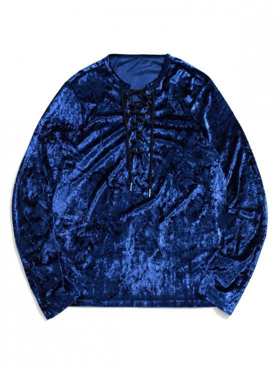 trendy Lace Up Solid Long Sleeve T-shirt - DENIM DARK BLUE XL