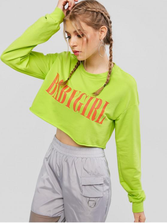 women ZAFUL Neon Letter Graphic Cropped Sweatshirt - CHARTREUSE XL