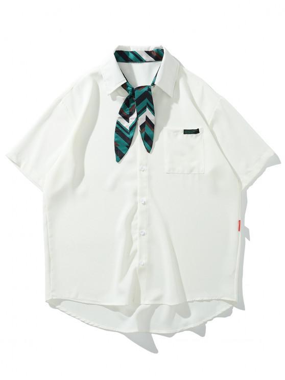 women's Faux Striped Tie Pocket High Low Button Shirt - WHITE XL