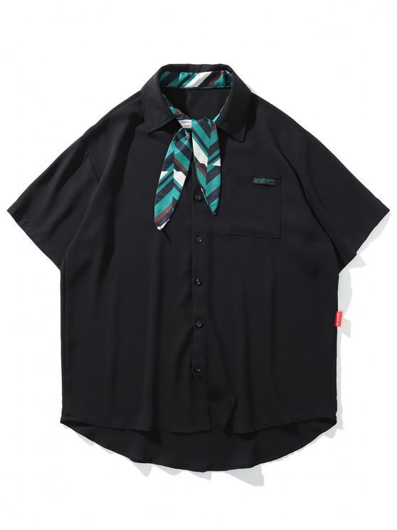 online Faux Striped Tie Pocket High Low Button Shirt - BLACK L