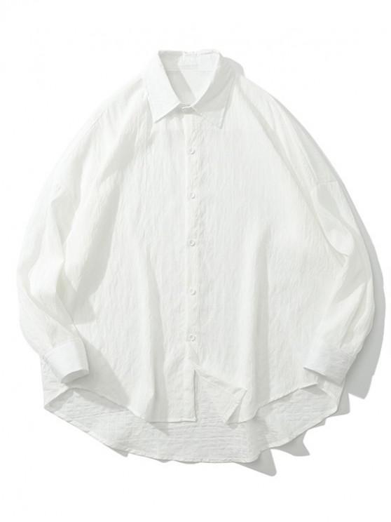 best Solid Pinstripes Drop Shoulder High Low Shirt - WHITE XL