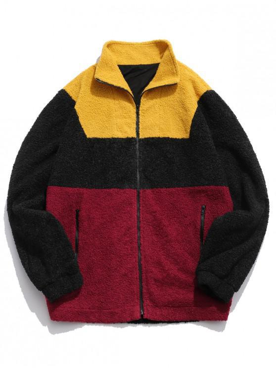 unique ZAFUL Color Block Zipper Pockets Fluffy Coat - GOLDENROD S
