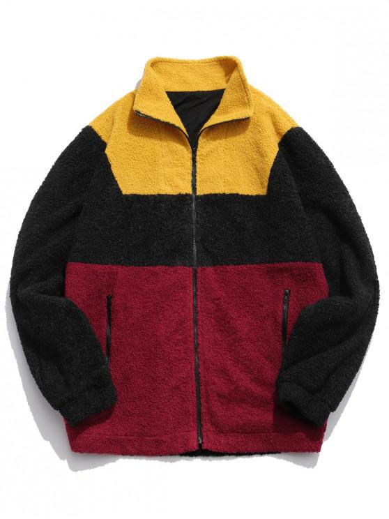hot ZAFUL Color Block Zipper Pockets Fluffy Coat - GOLDENROD XL