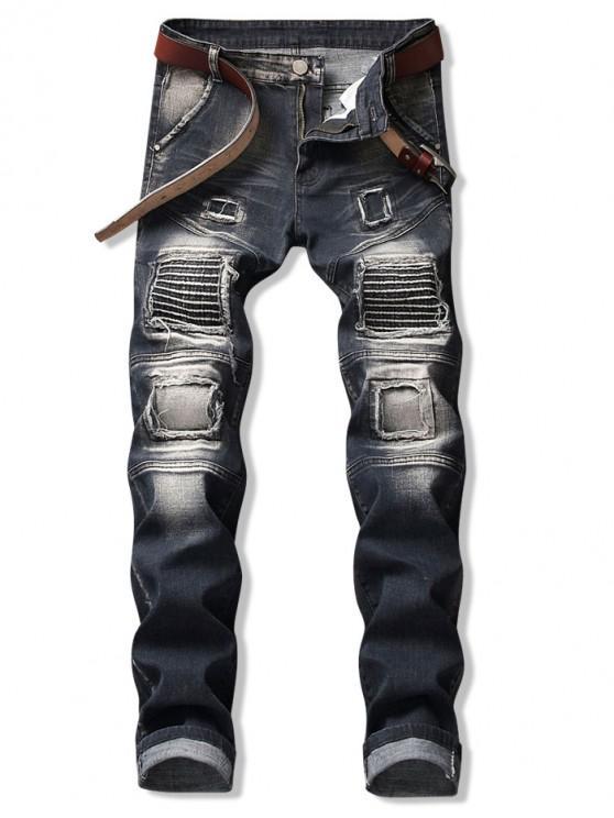 latest Pleated Patchwok Spliced Long Biker Jeans - SLATE BLUE 36