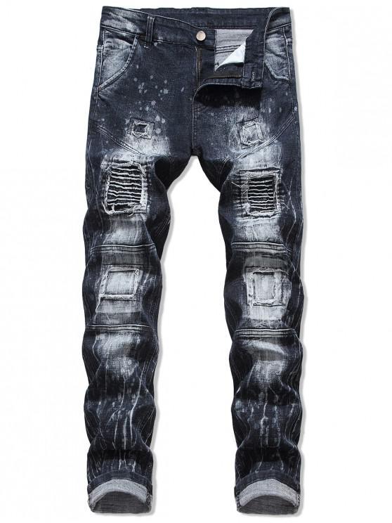 fashion Pleated Patchwok Spliced Long Biker Jeans - DARK SLATE BLUE 38