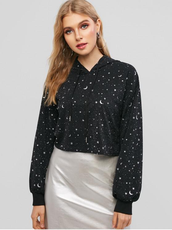 lady ZAFUL Star Moon Drop Shoulder Crop Hoodie - BLACK S