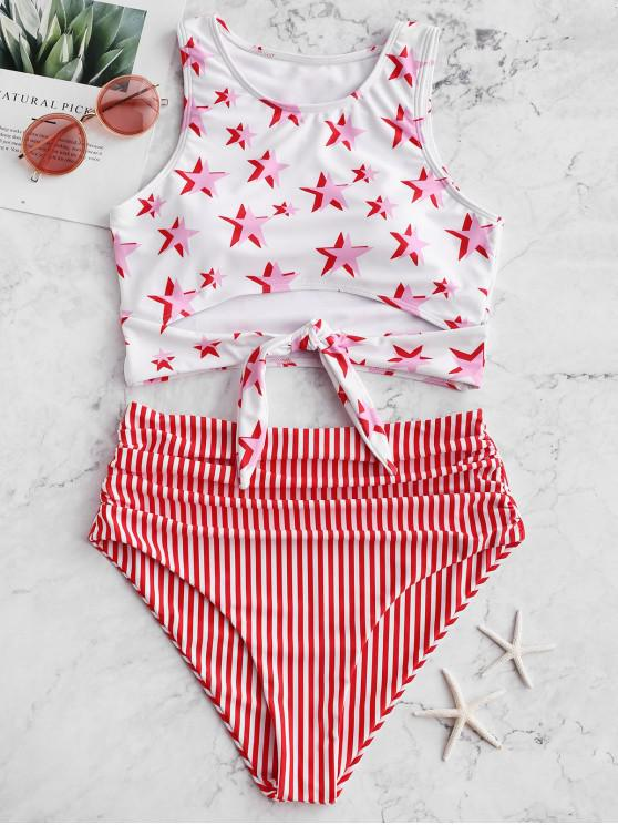 chic ZAFUL Knot Ruched Stars and Striped Tankini Swimsuit - LAVA RED S