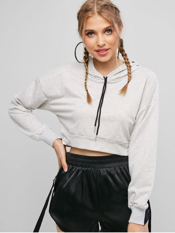 outfit ZAFUL Space Dye Print Drawstring Cropped Hoodie - LIGHT GRAY L