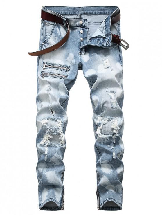 Jeans con vuelo y botones de patchwork rasgado con cremallera - Celeste 38