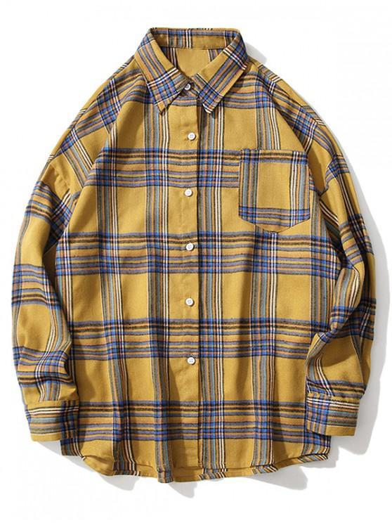 A cuadros bolsillo en el pecho gota hombro del botón camisa - Amarillo M