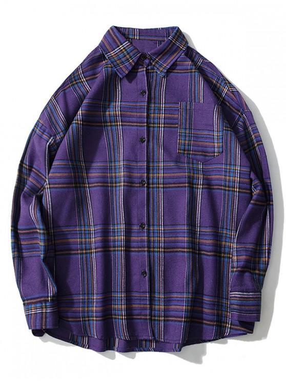 unique Plaid Chest Pocket Drop Shoulder Button Shirt - PURPLE M