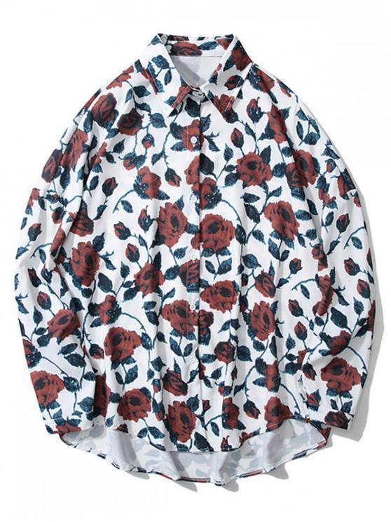 hot High Low Flower Print Drop Shoulder Shirt - WHITE M