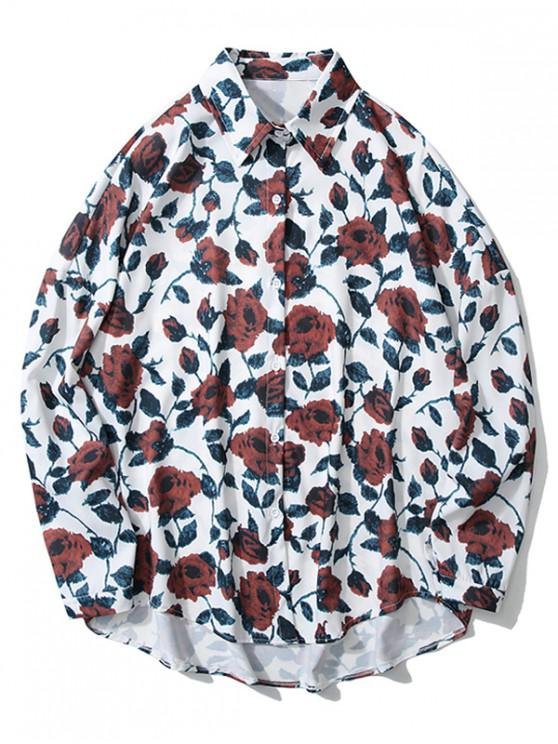 outfits High Low Flower Print Drop Shoulder Shirt - WHITE L
