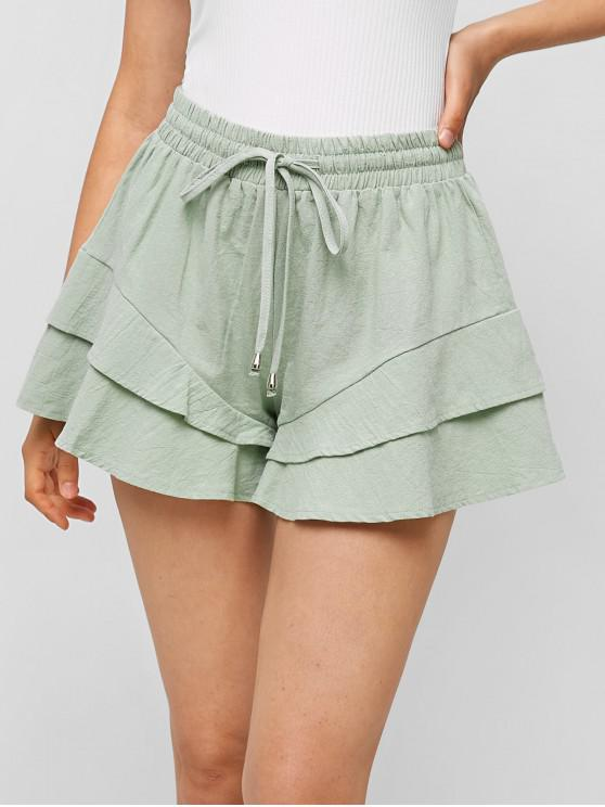 affordable Tiered Drawstring Wide Leg Shorts - PALE BLUE LILY XL