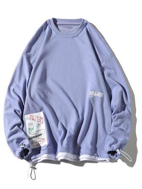 hot Color Block Splicing Hem Letter Applique Casual Sweatshirt - PURPLE MIMOSA XL
