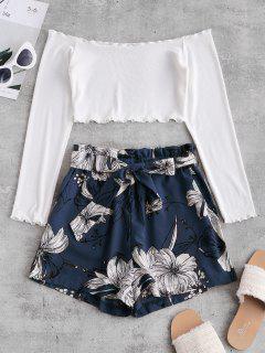 ZAFUL Ribbed Floral Off Shoulder Paperbag Shorts Set - Multi-c L