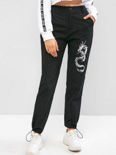 High Waisted Dragon Embroidered Jogger Pants - Black S