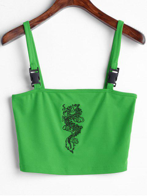 Camiseta Sin Mangas con Bordado de Dragón - Verde S Mobile