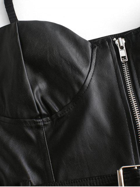 lady Belted Zip Up PU Leather Bustier Cami Top - BLACK S Mobile