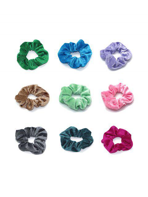 9шт Велюровые Резинки для волос - Многоцветный-Б  Mobile