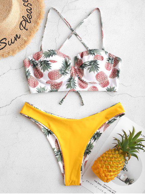 62ce39b036 ... ZAFUL Maillot de bain bikini avec balconnet réversible à armatures -  Blanc L Mobile ...