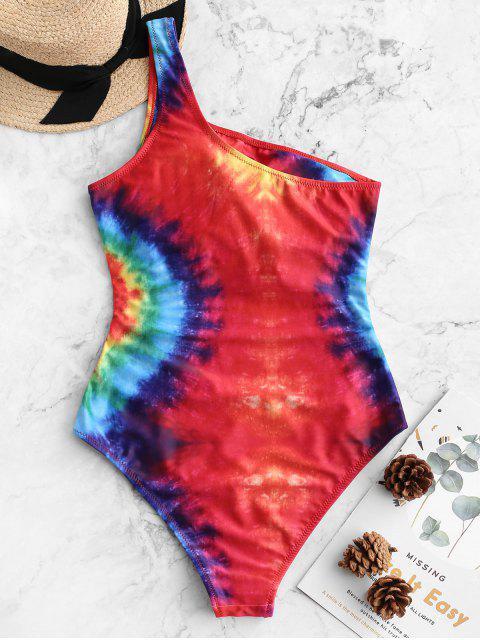 ZAFUL Rainbow Spie Tie Dye Print Traje de baño de una pieza de un hombro - Multicolor-A S Mobile