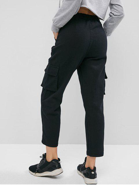 Pantalón recto de cintura alta bolsillos rectos - Negro S Mobile