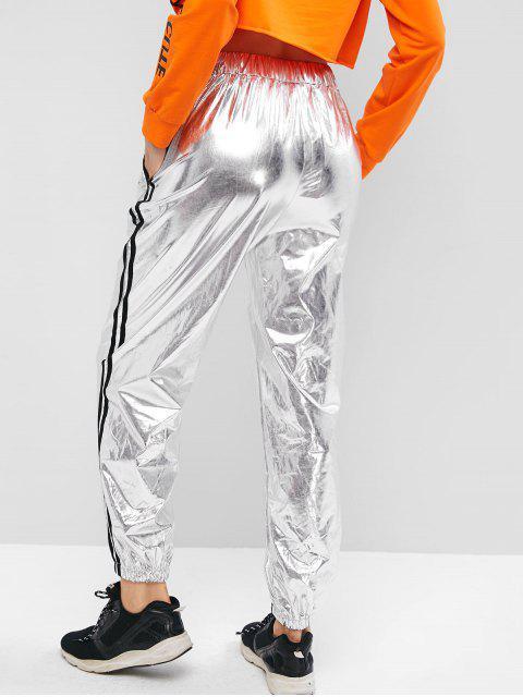 Pantalones de chándal de talle alto con rayas brillantes de carreras - Plata M Mobile