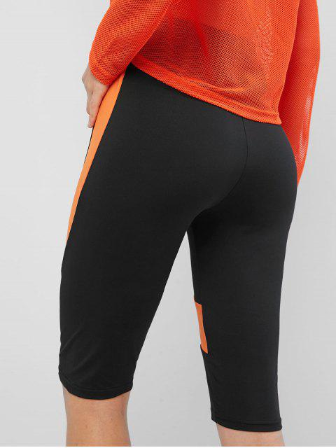 Pantalones cortos Biker de bloque de color de cintura alta - Negro M Mobile