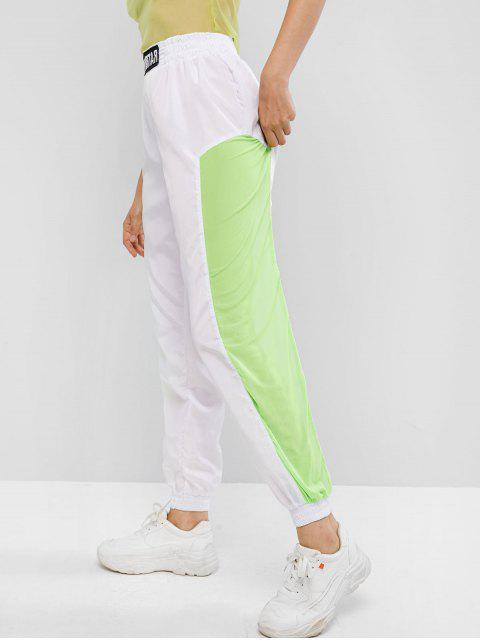 trendy Embroidered Patched Neon Mesh Panel Jogger Pants - WHITE L Mobile