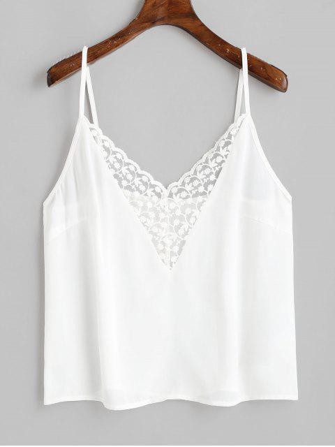 new ZAFUL Flower Embroidered Lace Insert Plain Camisole - WHITE M Mobile