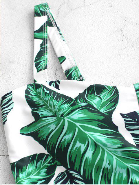 Bañador Tankini con control de barriga y estampado de palma con cordones ZAFUL - Multicolor-A XL Mobile