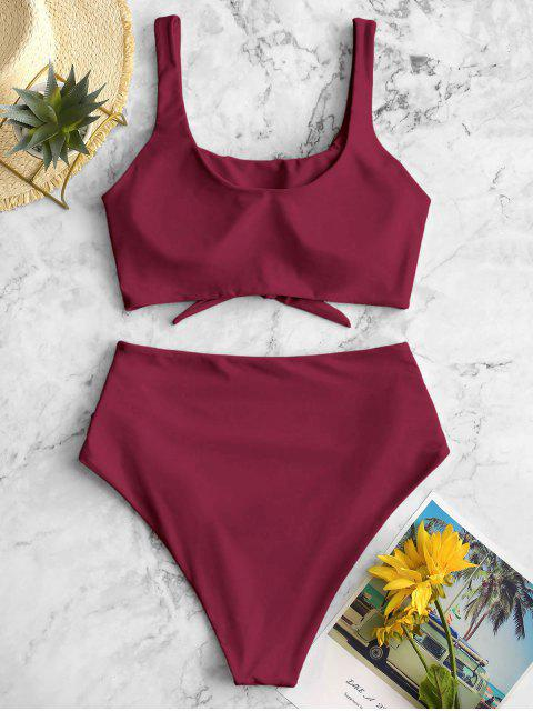 lady ZAFUL Scooped Keyhole Tummy Control Tankini Swimsuit - RED WINE XL Mobile