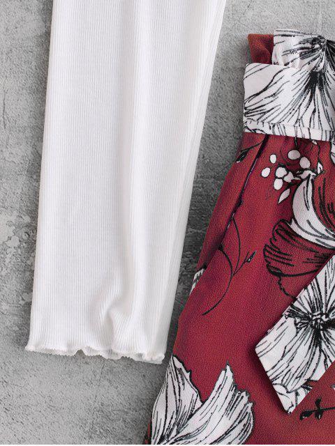 shops ZAFUL Ribbed Floral Off Shoulder Paperbag Shorts Set - MULTI-D S Mobile
