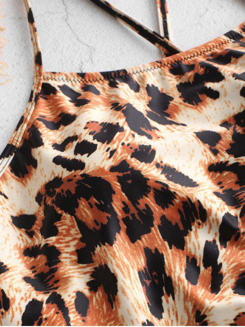 ZAFUL traje de baño cruzado de leopardo fruncido cruzado Tankini - Multicolor-B L Mobile
