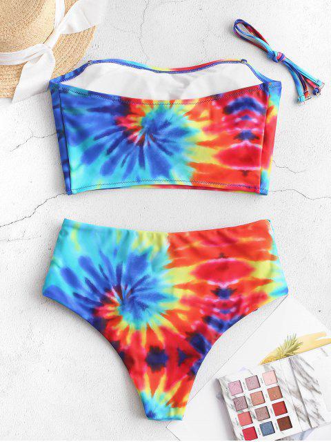 ZAFUL Traje de baño Tankini con pliegues en espiral y estampado tie dye en espiral - Multicolor-A XL Mobile