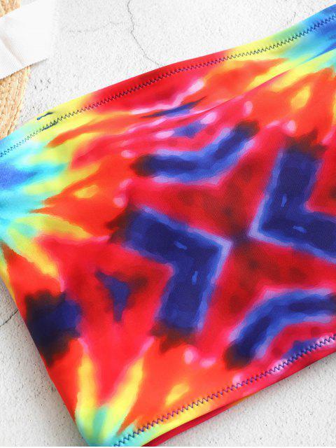 ZAFUL Traje de baño Tankini con pliegues en espiral y estampado tie dye en espiral - Multicolor-A 2XL Mobile