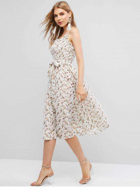 lady Belted Ditsy Floral Smocked Cami Dress - MULTI M Mobile