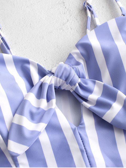 ZAFUL條紋繫帶鑰匙孔Tankini泳衣 - 柔和的藍色 XL Mobile