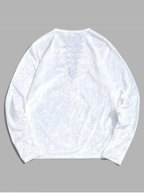 Camiseta de manga larga lisa con cordones - Blanco M Mobile