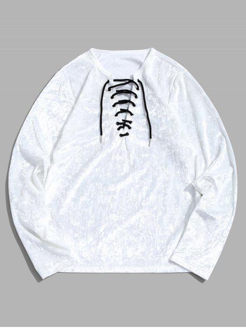 Camiseta de manga larga lisa con cordones - Blanco XL Mobile