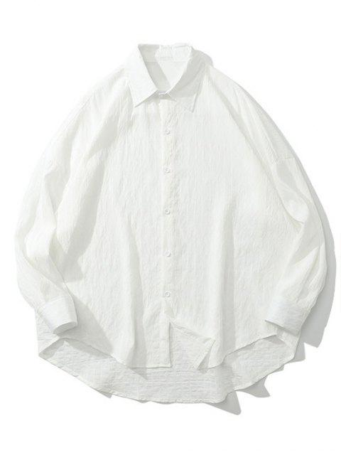 best Solid Pinstripes Drop Shoulder High Low Shirt - WHITE XL Mobile